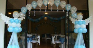 Decoracion de globos para bautizo